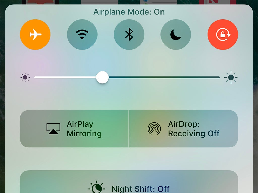 a screenshot of an iPhone with airplane mode turned on