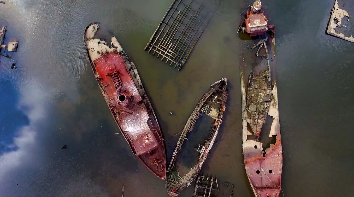 Drone Beautifully Films Staten Island Ship Graveyard