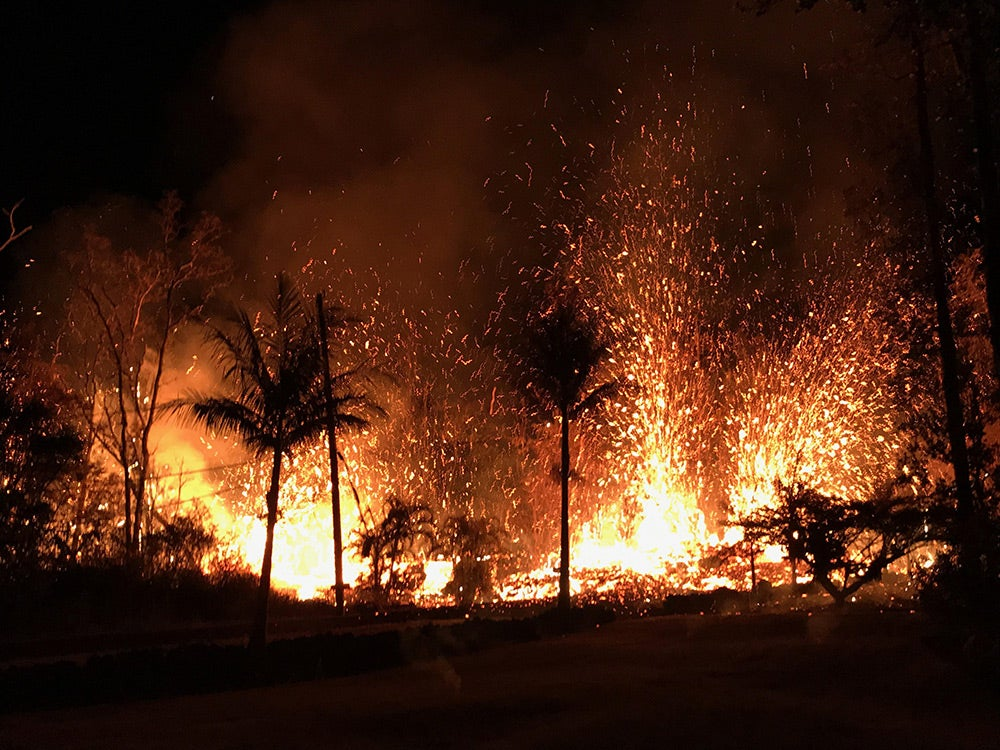 lava fountains erupting on luana road