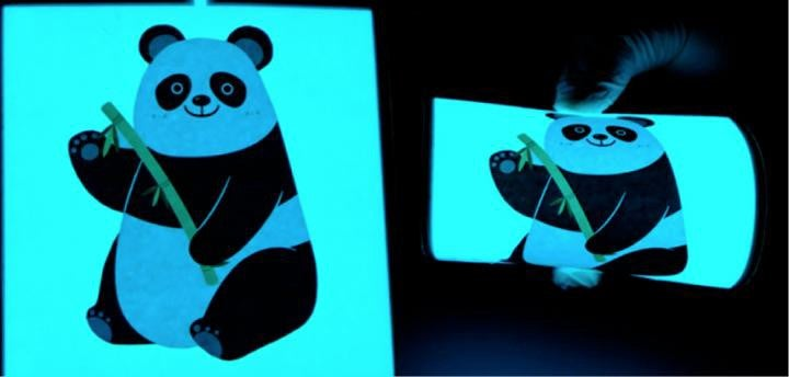 a flexible electronic display showing a panda