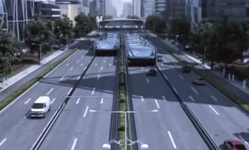 China's Road-Straddling Bus Takes First Test Drive