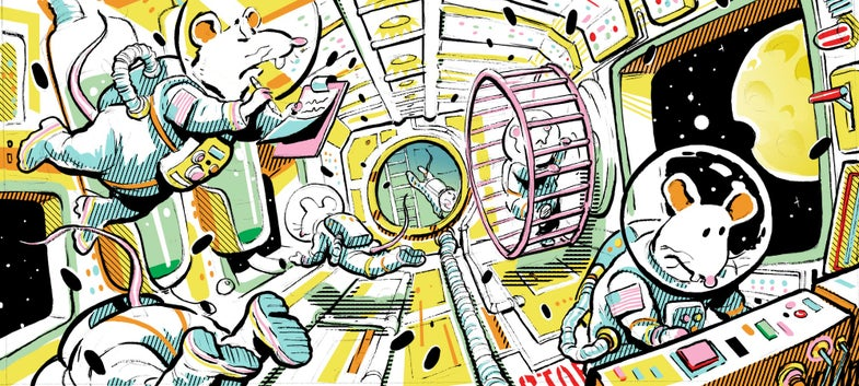 Illustration of mice astronauts in a spaceship.
