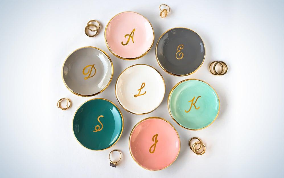 Gold Monogrammed Ring Dish