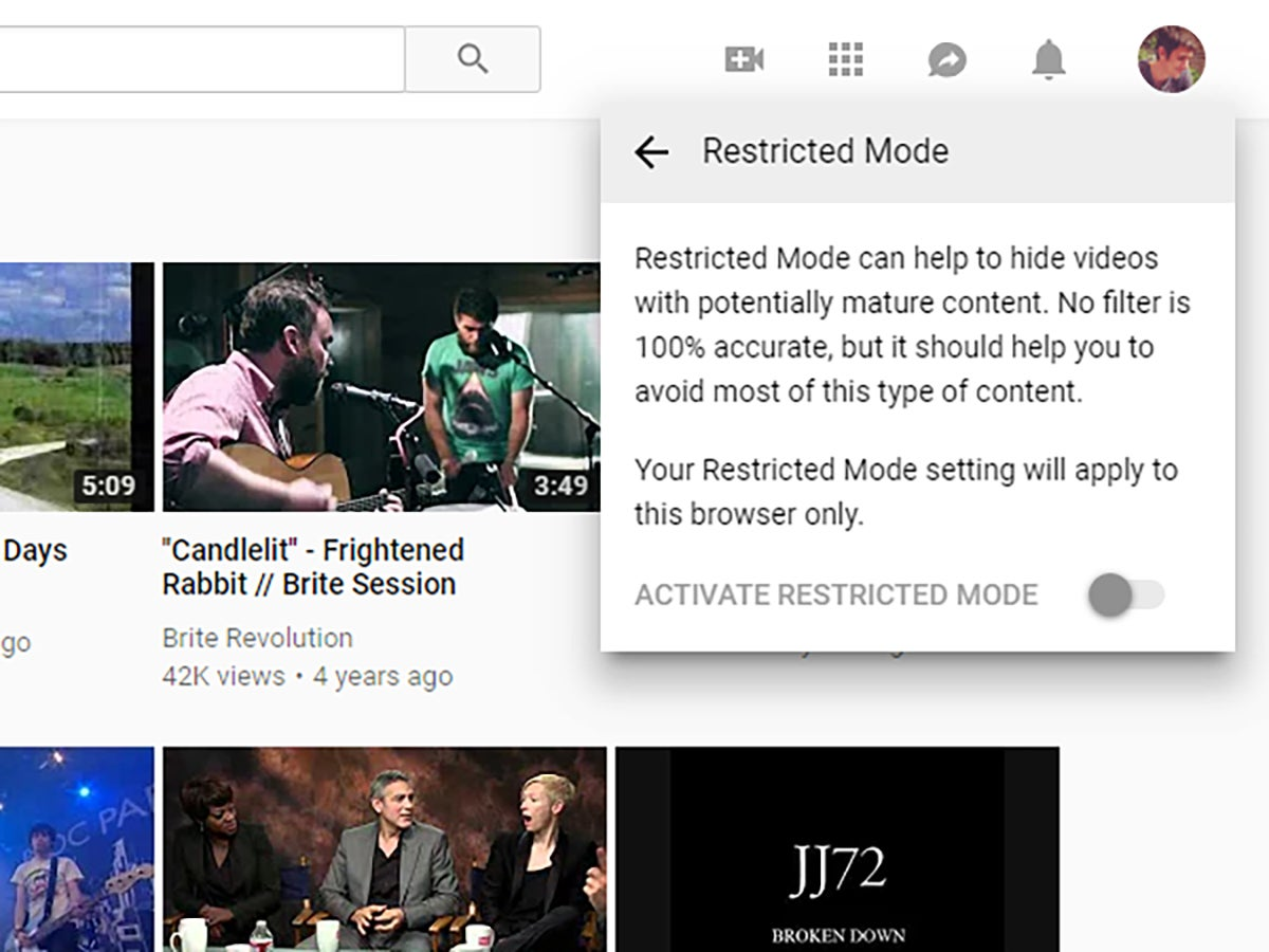 The dialog box for YouTube's restricted mode.
