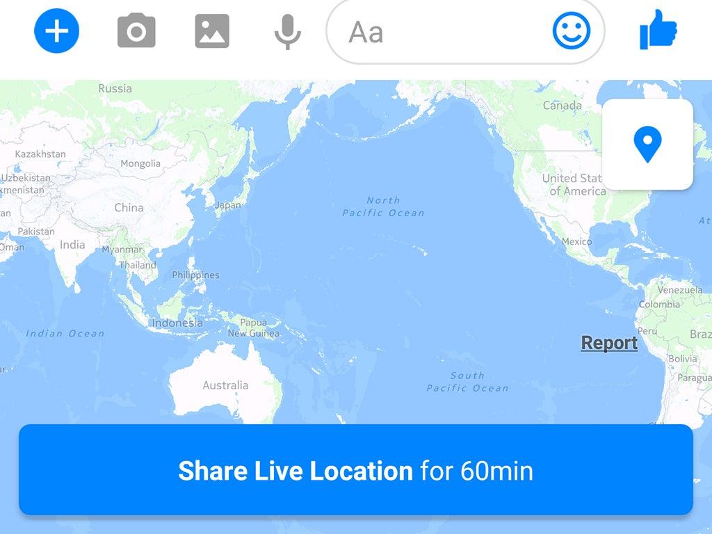 Facebook Messenger's location sharing map