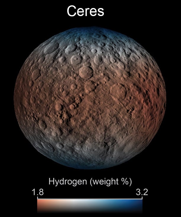 On Ceres, water ice survives just below the surface, and in the darkest craters