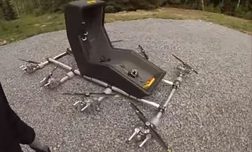 Swedish Man Builds Flying Chair With Eight Rotors