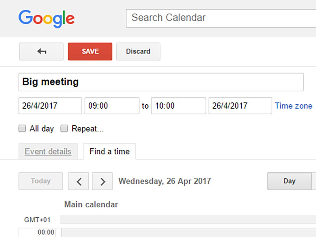 The Find a time option when creating an event in Google Calendar.