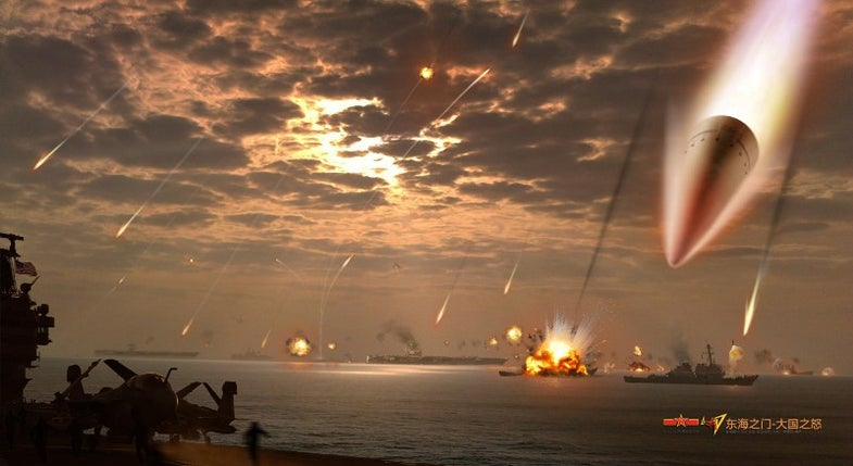 Ghost Fleet DF-21D Antiship Ballistic Missiles Stonefish falling on ships at sea