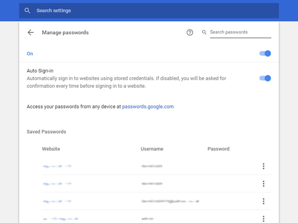 The Google Chrome screen that helps you manage the passwords you've used while navigating the browser.