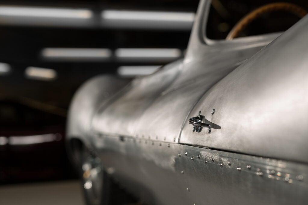 The metal paneling of Jaguar's recreated XKSS
