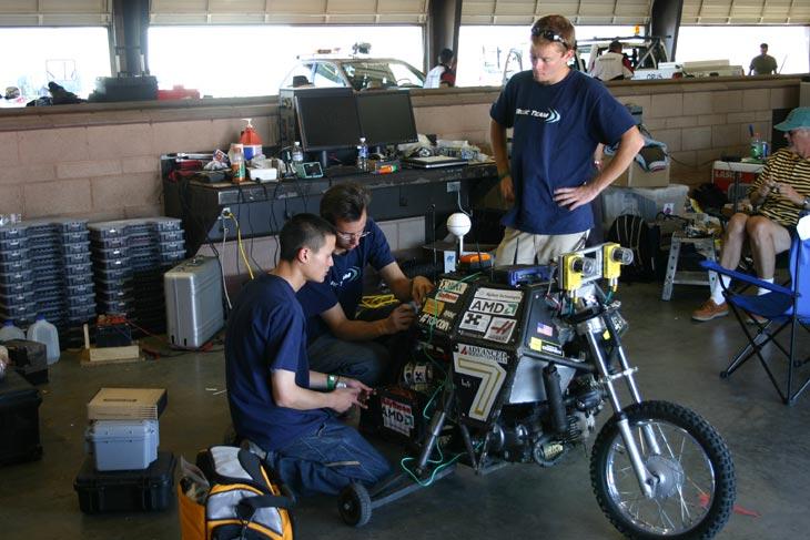 Blue Team preparing the Ghostrider motorbike