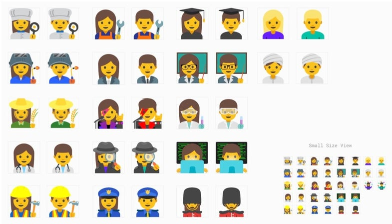 The new emoji included in Unicode's update.