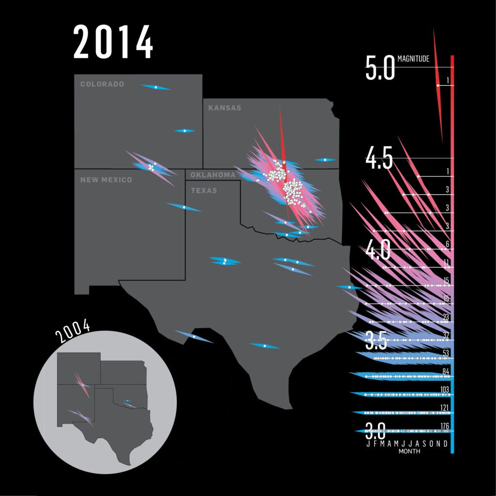 map showing that there were many more earthquakes in 2014 than there were in 2004 in oklahoma