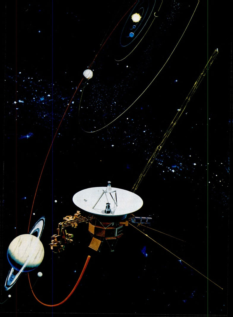 Voyager 1 flying past Saturn, with Jupiter and the inner solar system visible in the background