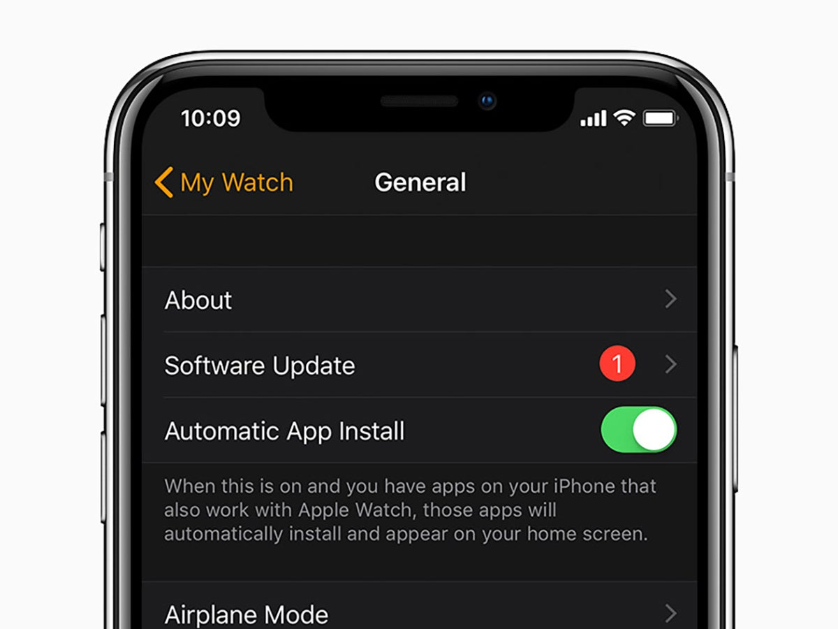 An iPhone displaying Apple Watch update options.