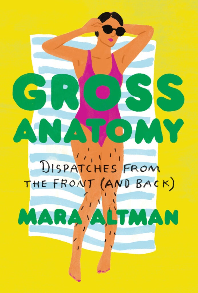Cover of Gross anatomy, drawing of a woman in a swimsuit lying on a towel against a yellow background