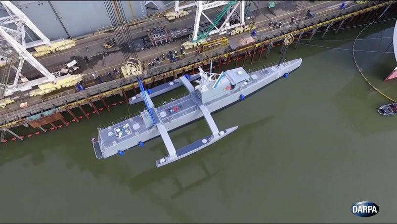 Watch DARPA's Robot Sub-Hunter Take To The Sea