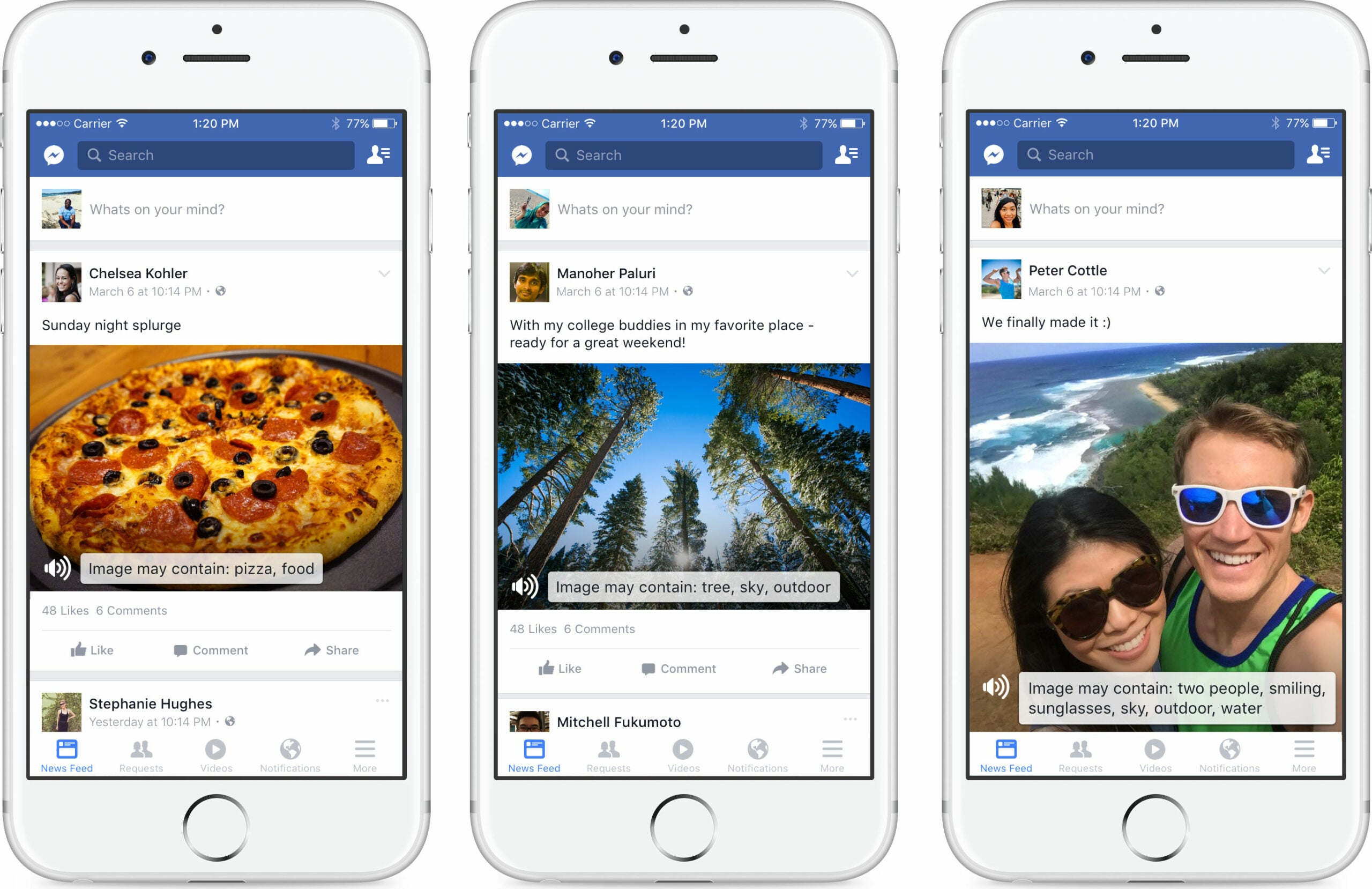 Facebook's new automatic alternative text uses artificial intelligence to recognize objects and people in photos.