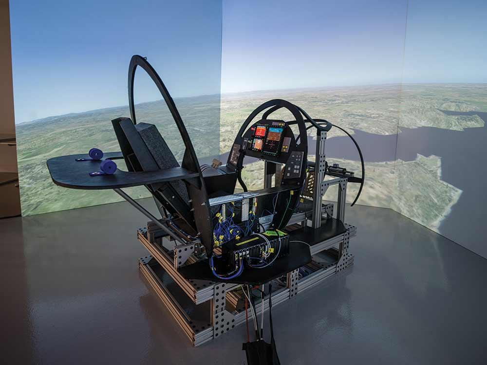 Boom's flight-simulator rig.