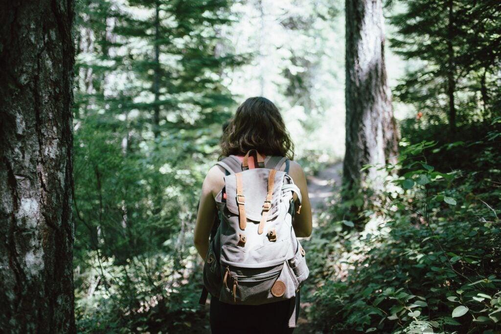 woman hiking trail