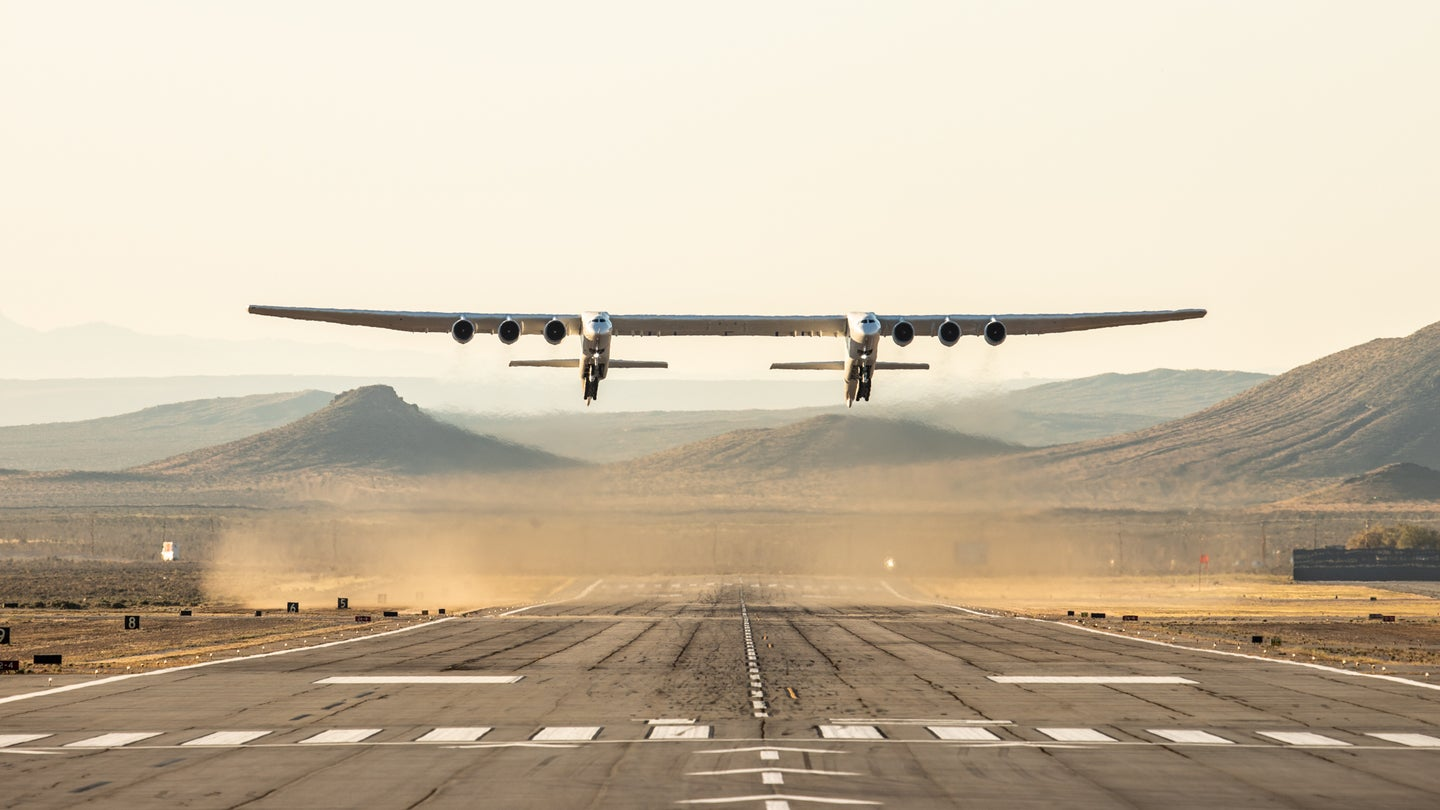 The world's biggest plane has 6 engines and a 385-foot wingspan