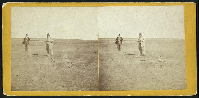 two photos of men in the prairie