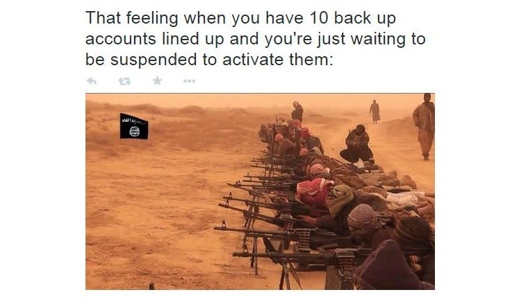 tweet about isis fighters being prepared for twitter to suspend their accounts