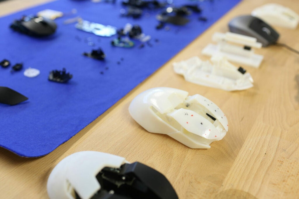Mouse prototypes on a table