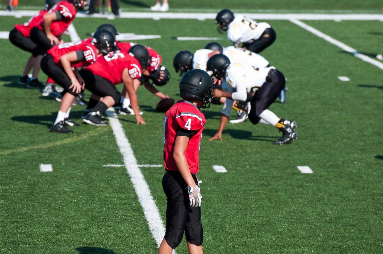 Football on turf is hard on the knees