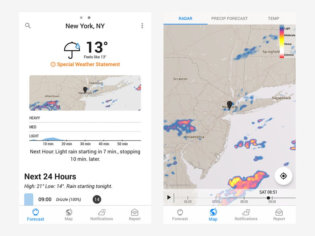 Dark Sky's up-to-the-minute interface makes it one of the best weather apps.