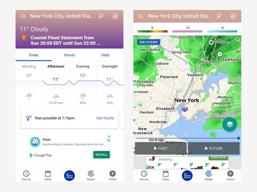 The Weather Channel's app interface, which makes it perhaps the best app for weather news.