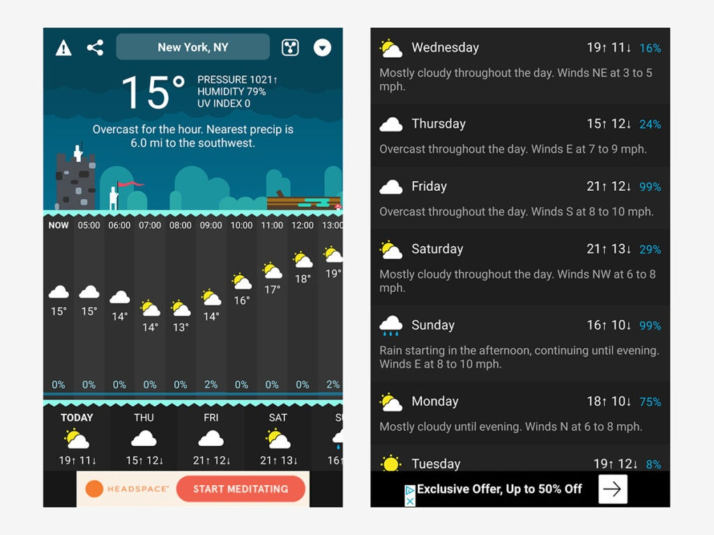 Carrot Weather's entertaining interface, which makes it a good weather app, even if it's not the best weather app.