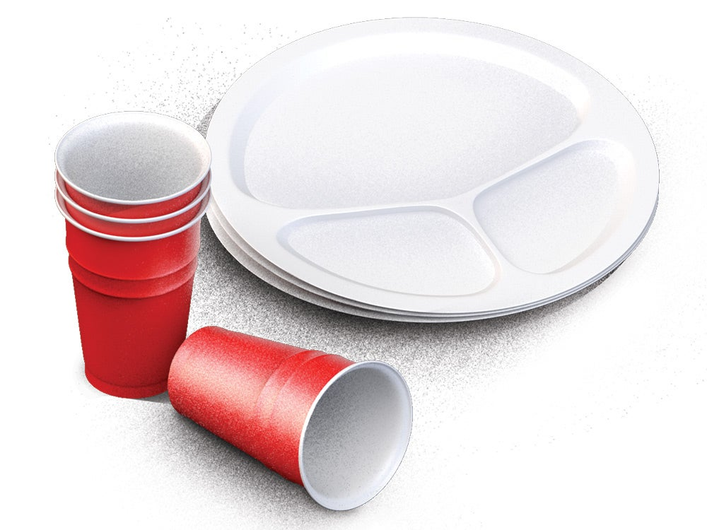 Plastic plates and cups