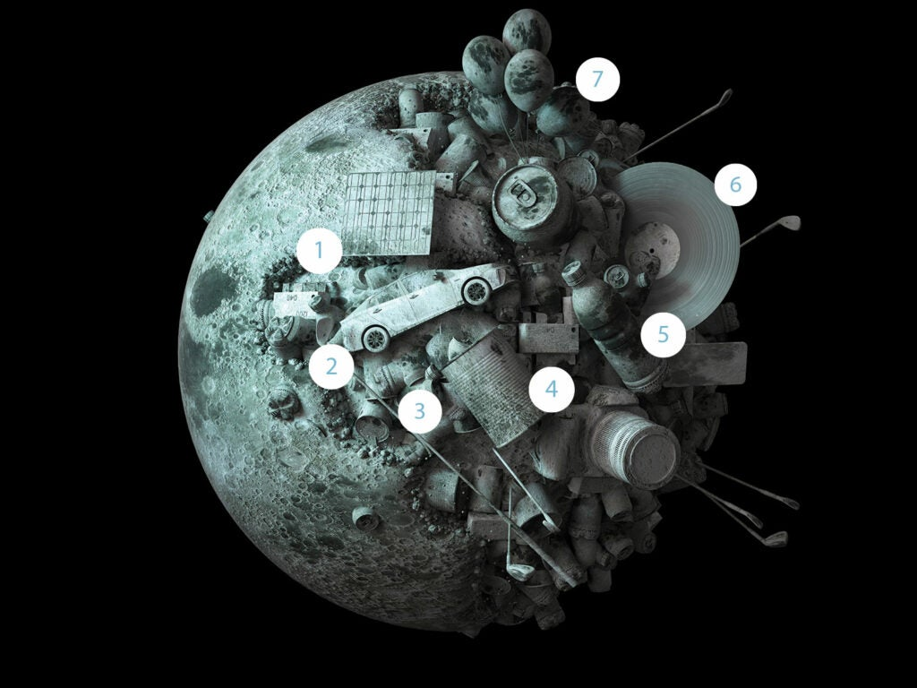 moon illustration depicting elements to be mined