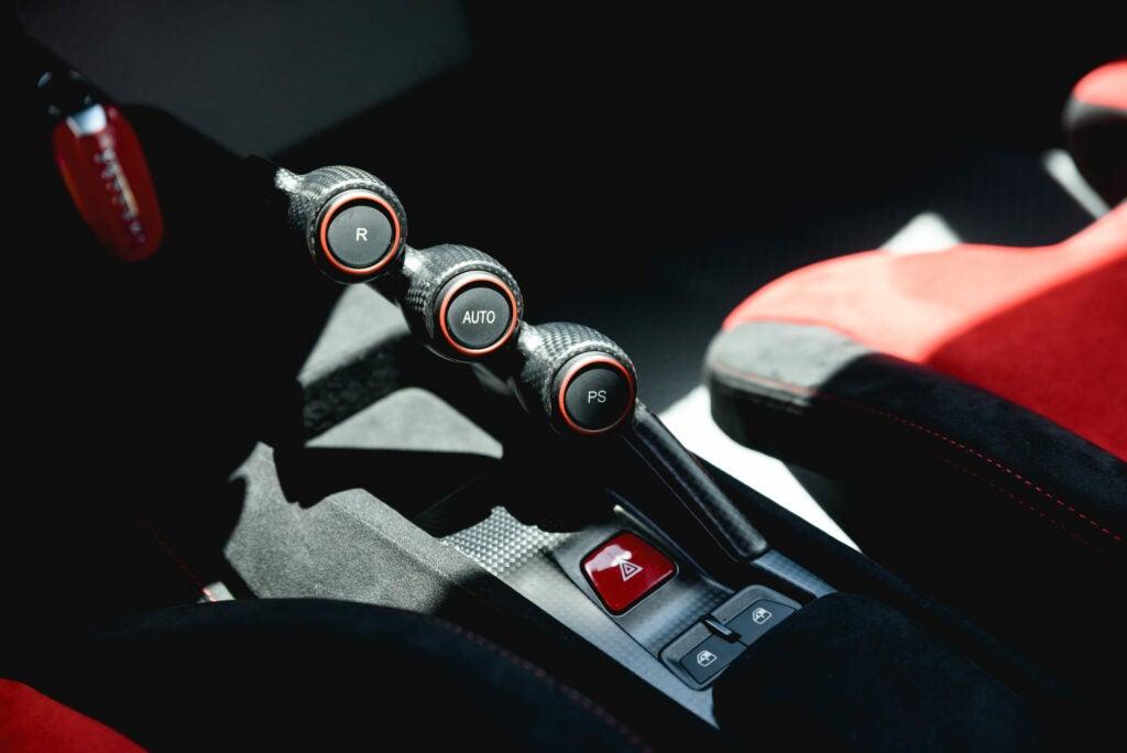 Ferrari Pista traction control selection.