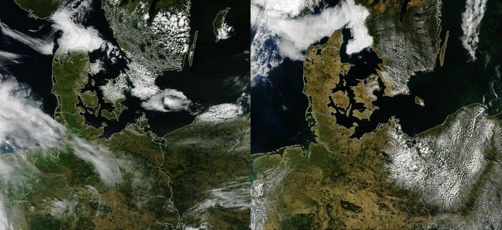 The United Kingdom, France, Belgium, the Netherlands and Germany in July, 2017 (left) and July, 2018 (right), during a heat wave and dry spell that turned landscapes brown.