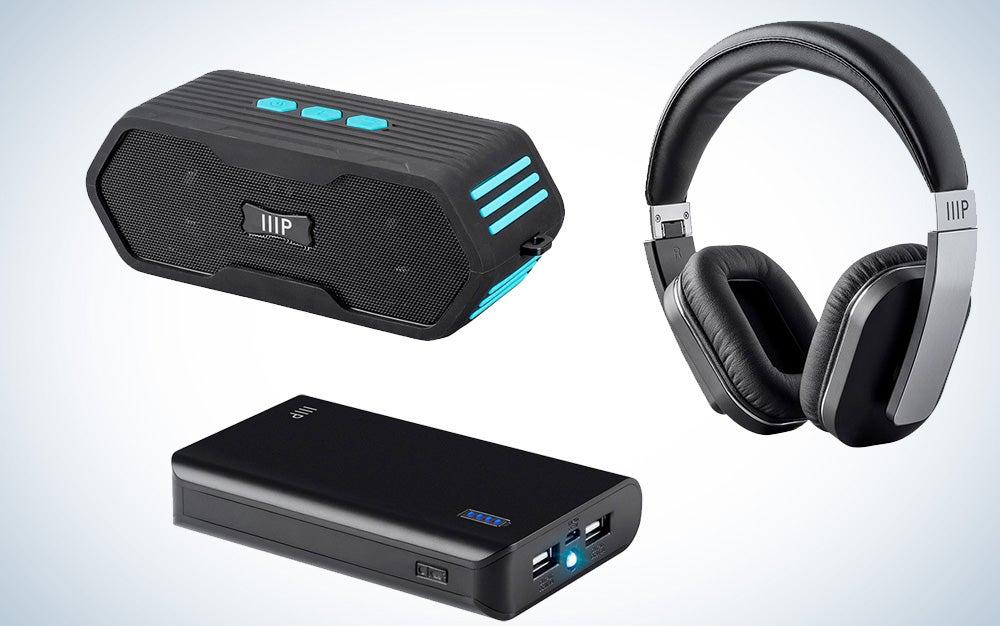 Monoprice Bluetooth speakers, headphones, and power banks