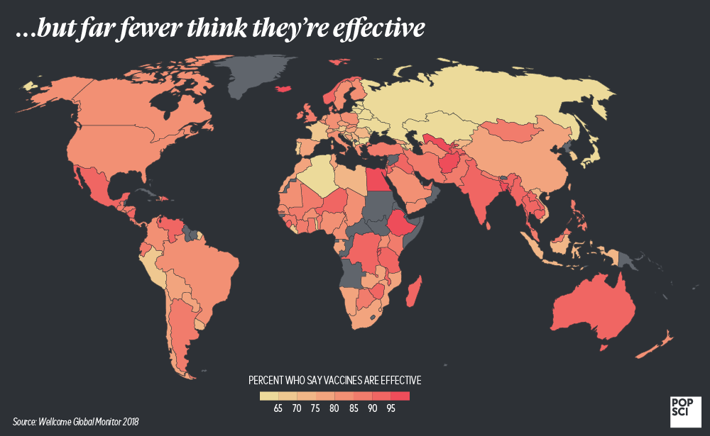 countries that think vaccines are effective
