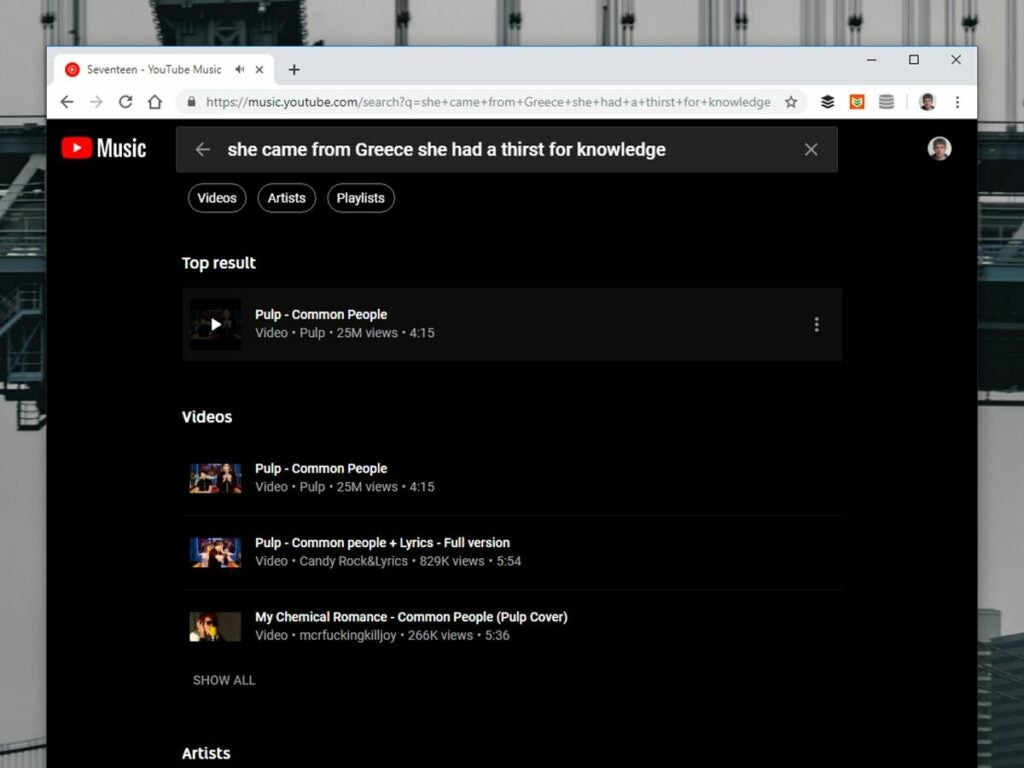 YouTube Music's lyric search tool