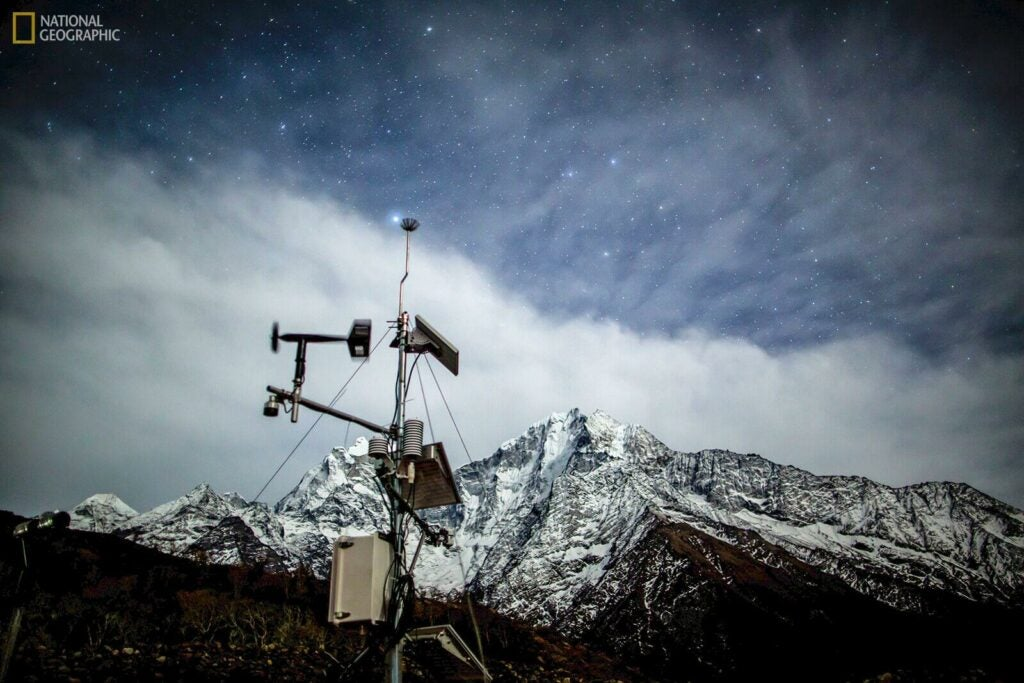 A weather station at 3,810 metres in Phortse
