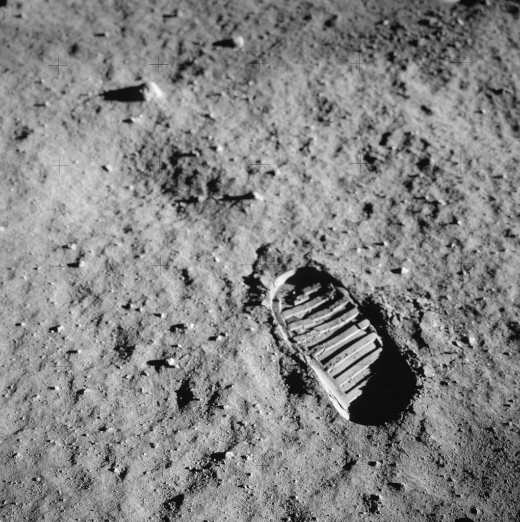 Neil Armstrong's footprint in lunar soil