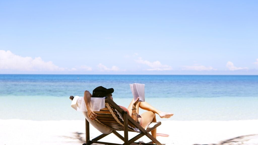 woman in a chair on the beach