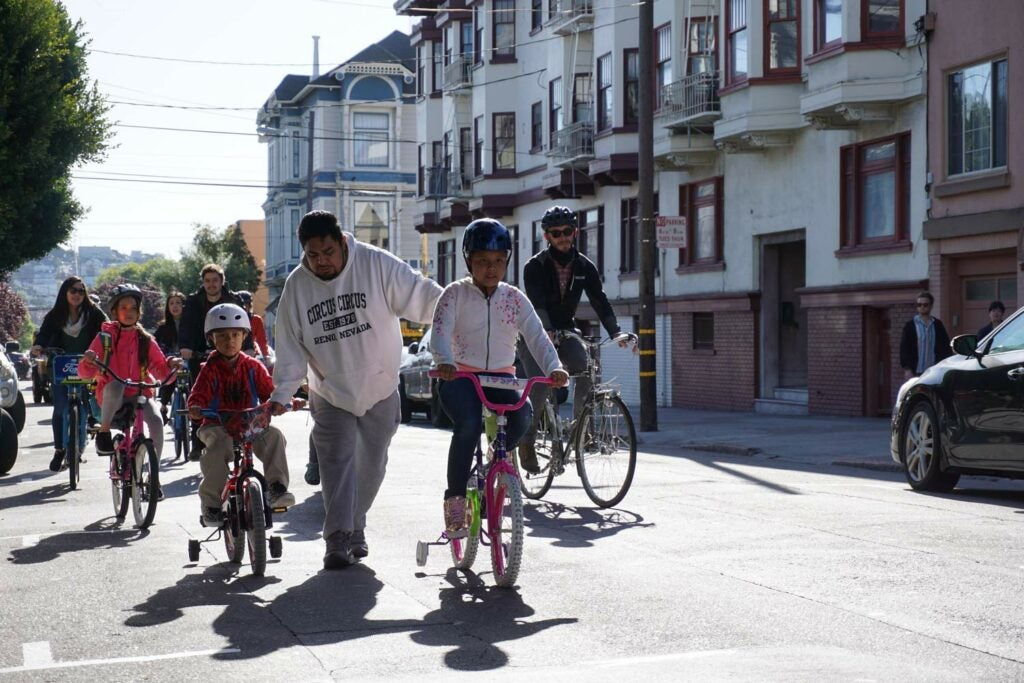 Students bike to school in San Francisco