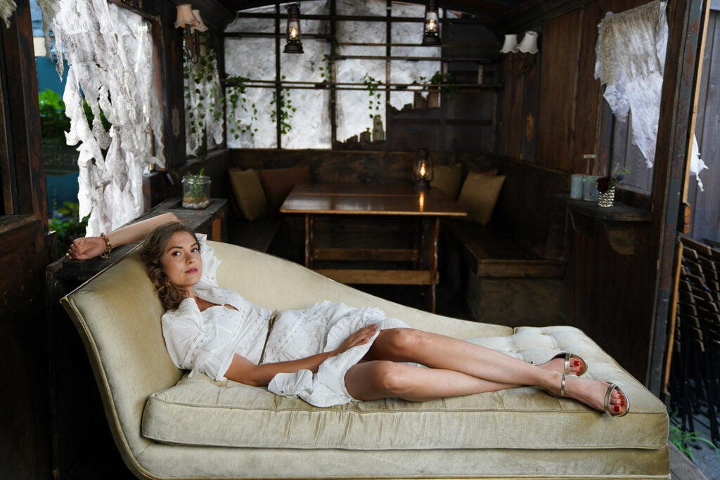 woman in white lounging