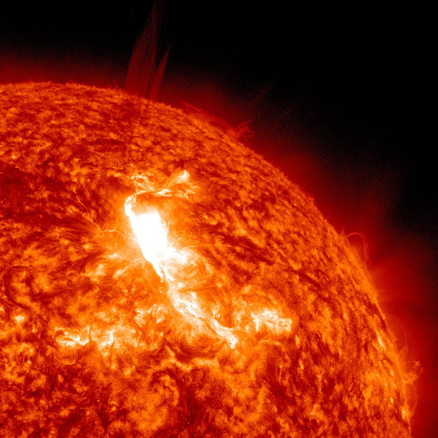 The hot sun in cold space