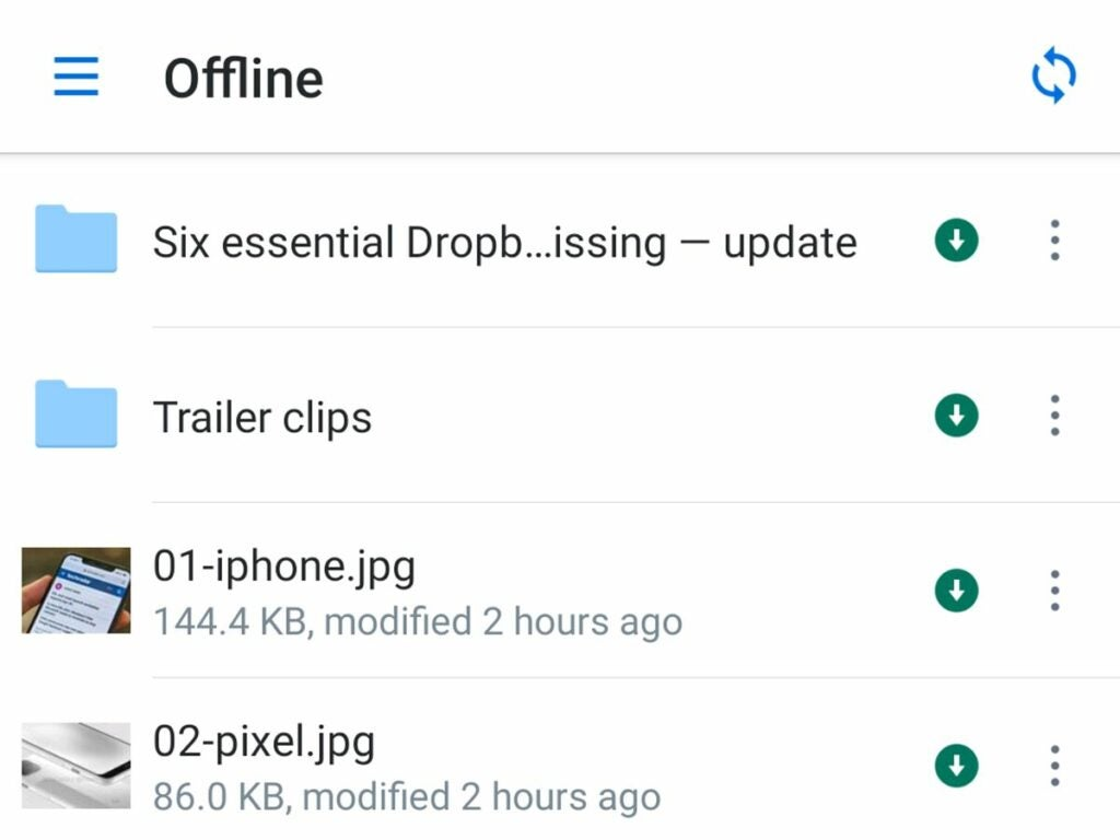 Dropbox offline