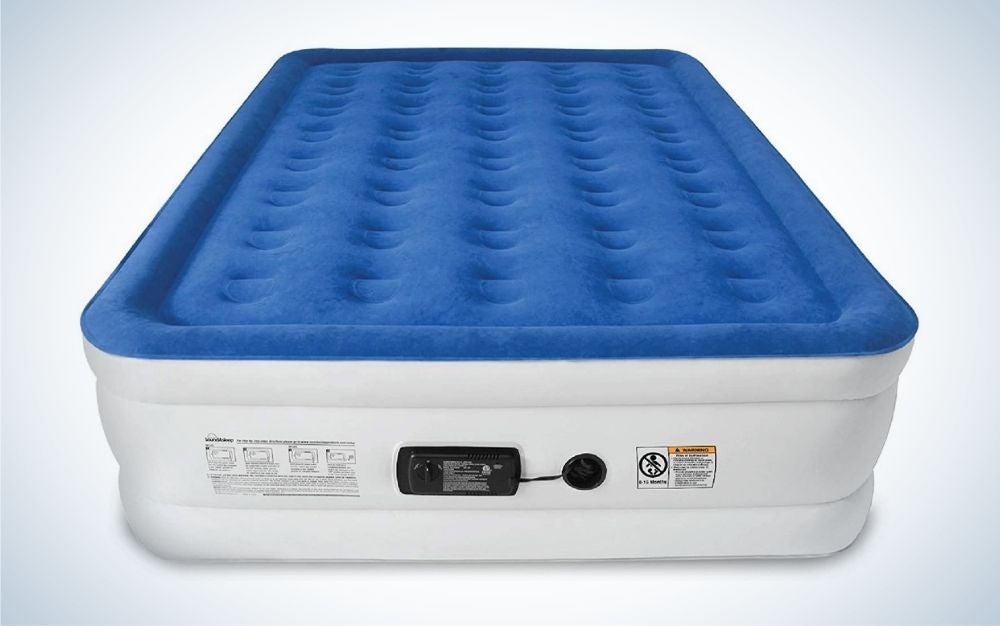 Quinn, white and blue air mattress