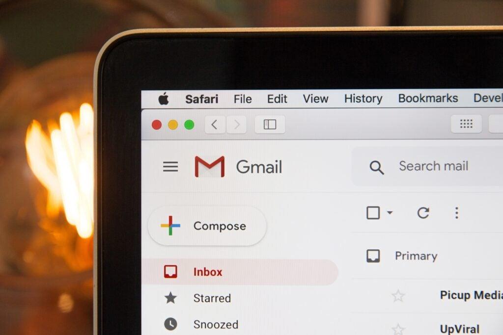 Gmail screen on laptop