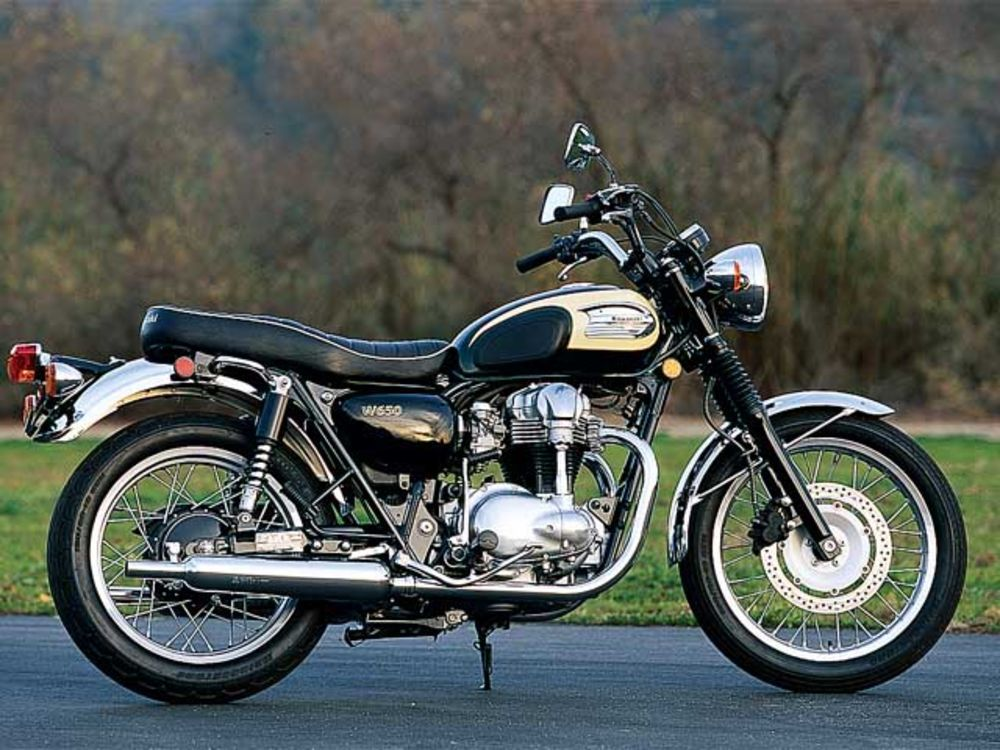 An updated motorcycle based on retro Triumphs, the Kawasaki W650 gives the new rider reliability and vintage style in a modern package.